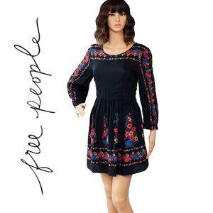 Free People Black Floral Print Mini Dress Size 2